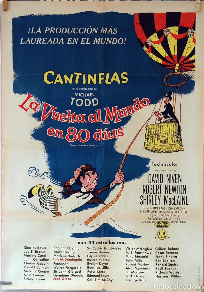 LA VUELTA AL MUNDO EN OCHENTA DÍAS. CANTINFLAS-DAVID NIVEN-SHIRLEY MACLAINE. CARTEL ORIGINAL 70X100 (Cine - Posters y Carteles - Aventura)