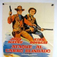 Cinema: ATAQUE AL CARRO BLINDADO (1967) JOHN WAYNE, KIRK DOUGLAS. CARTEL ORIGINAL DE LA PELÍCULA 100X70CMS.. Lote 127739075