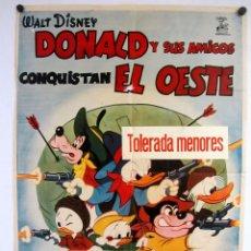 Cine: DONALD Y SUS AMIGOS CONQUISTAN EL OESTE(1966)WALT DISNEY. CARTEL ORIGINAL DE LA PELÍCULA. 70X100CMS.. Lote 127740111