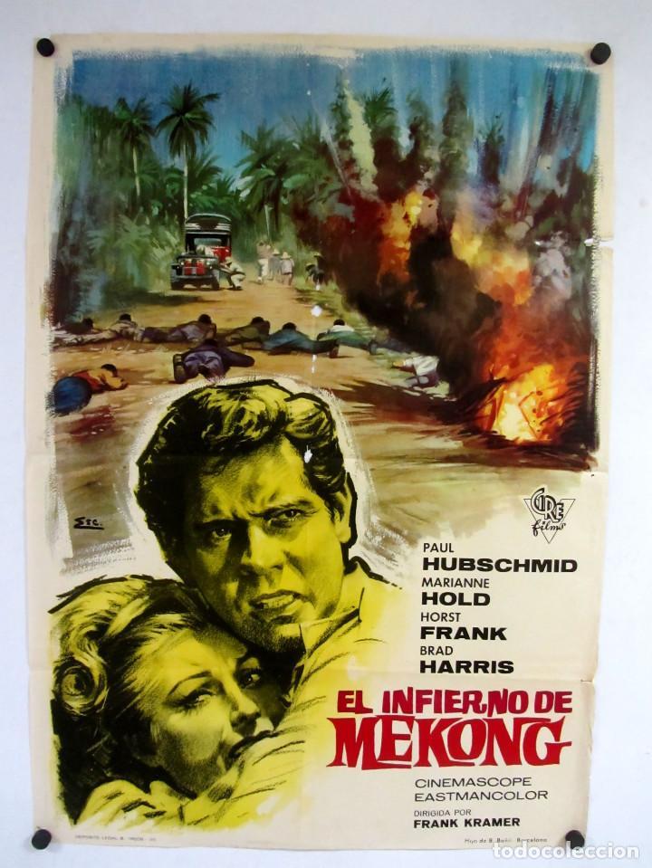 EL INFIERNO DE MEKONG (1964) GIANFRANCO PAROLINI. CARTEL ORIGINAL DE LA PELÍCULA 100X70CMS. (Cine - Posters y Carteles - Bélicas)
