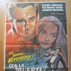 Cine: CARTEL CINE, CON LA MUERTE EN LOS TALONES, CARY GRANT, EVA MARIE SAINT, 1980, C1413. Lote 127932735