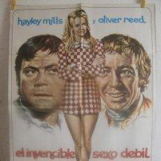 Cine: CARTEL CINE ORIG EL INVENCIBLE SEXO DEBIL (1969) 70X100 / HAYLEY MILLS / OLIVER REED / MAC. Lote 128279975