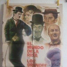 Cine: CARTEL CINE ORIG EL MUNDO DE LA RISA (1960) 70X100 / CHARLES CHAPLIN / STAMN LAUREL / OLIVER HARDY. Lote 128280975