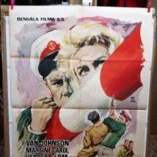 Cine: LA FRONTERA DEL TERROR. VAN JOHNSON-TERENCE YOUNG. CARTEL ORIGINAL 1962. 100X70CM. Lote 128445091