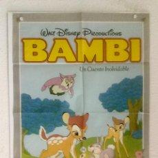 Cine: BAMBI - POSTER CARTEL ORIGINAL - WALT DISNEY ANIMACION FILMAYER. Lote 128559707