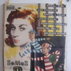 Cine: CARTEL CINE ORIG SOMOS 2 FUGITIVOS (1959) 70X100 / UGO TOGNAZZI / MAGALI NOËL. Lote 128651507