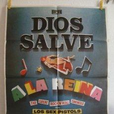 Cine: CARTEL CINE ORIG DIOS SALVE A LA REINA (1977) 70X100 / SEX PISTOLS / MAC. Lote 128691427