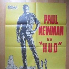 Cine: CARTEL CINE, HUD, PAUL NEWMAN, MELVYN DOUGLAS, 1963, C1437. Lote 128888691