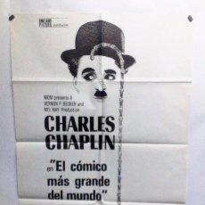 Cine: CHARLES CHAPLIN. EL CÓMICO MÁS GRANDE DEL MUNDO, 1977. CARTEL ORIGINAL. 100X70 CMS.. Lote 128942407