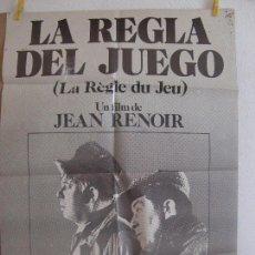 Cine: CARTEL CINE ORIG LA REGLA DEL JUEGO (1939) 70X100 / JEAN RENOIR. Lote 129095003