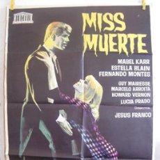 Cine: CARTEL CINE ORIG MISS MUERTE (1966) 70X100 / JESÚS FRANCO / JANO. Lote 129657099