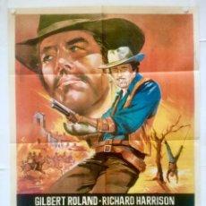 Cine: ENTRE DIOS Y EL DIABLO - POSTER CARTEL ORIGINAL - GILBERT ROLAND RICHARD HARRISON JOSE SACRISTAN. Lote 130351330