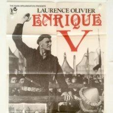 Cine: ENRIQUE V 5 - POSTER CARTEL ORIGINAL - WILLIAM SHAKESPEARE LAURENCE OLIVIER 81.5X56.5 CM.. Lote 130352274