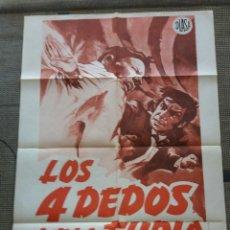 Cine: POSTER CARTEL ORIGINAL DE LOS 4 CUATRO DEDOS DE LA FURIA. KUNG FU . CINE ARTES MARCIALES. 70 X 100. Lote 130933424