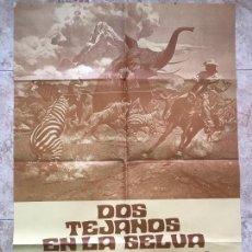 Cine: DOS TEJANOS EN LA SELVA, HOGH O'BRIAN,JOHN MILLS, CARTEL DE CINE ORIGINAL 100X70 CM. Lote 131354582