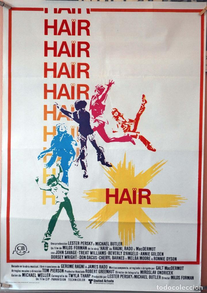 HAIR. MILOS FORMAN. CARTEL ORIGINAL 1981. 70X100 (Cine - Posters y Carteles - Musicales)
