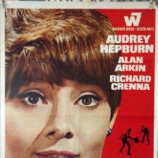 Cine: SOLA EN LA OSCURIDAD. AUDREY HEPBURN-TERENCE YOUNG. CARTEL ORIGINAL 1968. 70X100. Lote 132327538