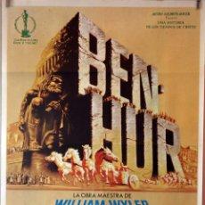 Cine: BEN HUR. CHARLTON HESTON-JACK HAWKINS-WILLIAM WYLWE. CARTEL ORIGINAL 1980 70X100. Lote 132331634