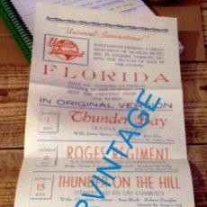 Cine: SEVILLA, AÑOS 50, CARTELERA CINE FLORIDA EN INGLES, RARISIMO, 16X36 CMS. Lote 133161418