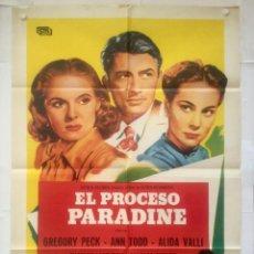 Cine: EL PROCESO PARADINE - POSTER CARTEL ORIGINAL - HITCHCOCK GREGORY PECK ANN TODD ALIDA VALLI. Lote 133294226