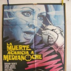 Cine: CARTEL CINE ORIG LA MUERTE ACARICIA A MEDIANOCHE (1972) 70X100 / LUCIANO ERCOLI / SUSAN SCOTT MATAIX. Lote 133477442