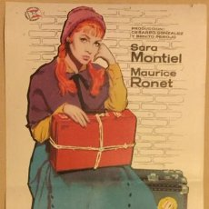 Cine: SARA MONTIEL CARTEL DE CINE PELICULA MI ULTIMO TANGO CARTELITO DE PRUEBA ILUSTRADO MAC DE REUS 1960. Lote 133491182