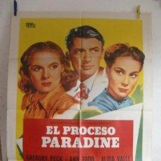 Cine: CARTEL CINE ORIG EL PROCESO PARADINE (1947) 70X100 / GREGORY PECK / ALFRED HITCHCOCK. Lote 133491390