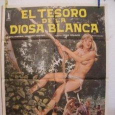 Cine: CARTEL CINE ORIG EL TESORO DE LA DIOSA BLANCA (1983) 70X100 / KATJA BIENERT / JESÚS FRANCO. Lote 133995754