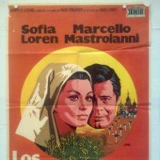 Cine: LOS GIRASOLES - POSTER CARTEL ORIGINAL CINE - MARCELLO MASTROIANNI SOFIA SOPHIA LOREN VITTORIO SICA. Lote 134631702
