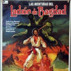 Cine: LAS AVENTURAS DEL LADRÓN DE BAGDAD. KABIR BEDI-PETER USTINOV. CARTEL ORIGINAL 1979. 70X100. Lote 135019138