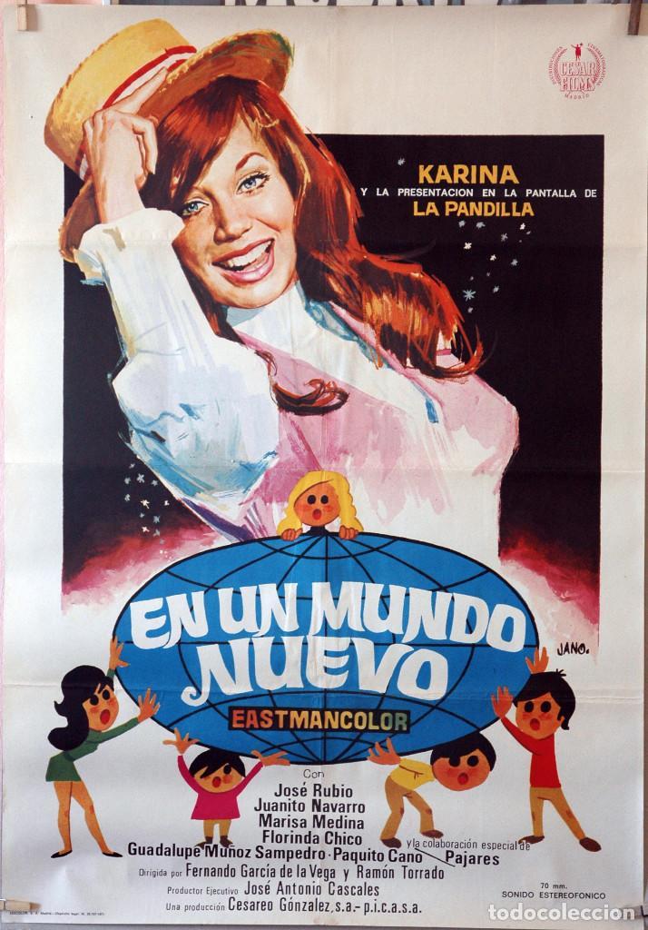 EN UN MUNDO NUEVO. KARINA. CARTEL ORIGINAL 1971. 70X100 (Cine - Posters y Carteles - Clasico Español)