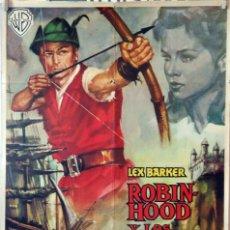Cine: ROBIN HOOD Y LOS PIRATAS. LEX BARKER. CARTEL ORIGINAL 1961. 70X100. Lote 135025042