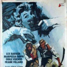 Cine: EL SECRETO DE LOS HOMBRES AZULES. LEX BARKER. CARTEL ORIGINAL 1974. 70X100. Lote 135475958