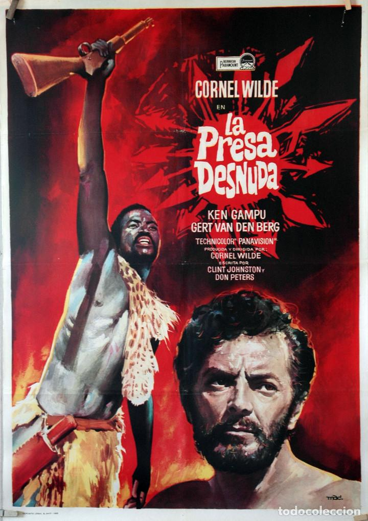 LA PRESA DESNUDA. CORNEL WILDE. CARTEL ORIGINAL 1966. 70X100 (Cine - Posters y Carteles - Aventura)