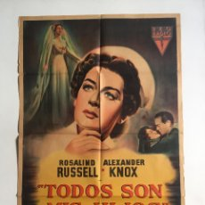 Cine: AMOR SUBLIME CARTEL ORIGINAL ARGENTINO. ROSALIND RUSSELL. Lote 136718982