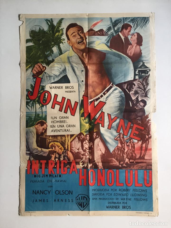 INTRIGA EN HONOLULU CARTEL ORIGINAL ARGENTINO JOHN (Cine - Posters y Carteles - Aventura)