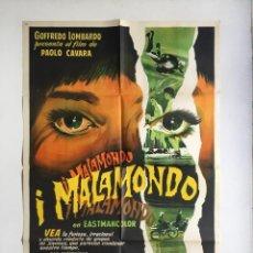 Cine: I MALAMONDO CARTEL ORIGINAL ARGENTINO - CINE MONDO - PAOLO CAVARA MODELO 1. Lote 136821030