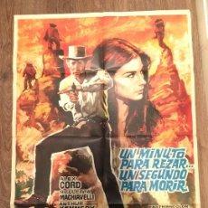 Cine: CARTEL DE CINE DEL ESTRENO DE LA PELÍCULA UN MINUTO PARA REZAR... UN SEGUNDO PARA MORIR (1968). Lote 136856484