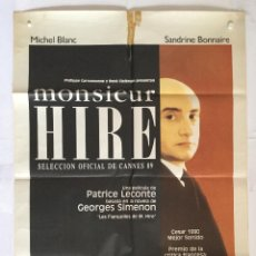 Cine: MONSIEUR HIRE - POSTER CARTEL ORIGINAL - MICHEL BLANC GEORGE SIMENON SANDRINE BONNAI. Lote 137203890