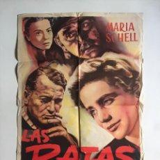 Cine: CARTEL ORIGINAL ARGENTINO LAS RATAS MARIA SCHELL ROBERT SIODMAK CURD JÜRGENS. Lote 137312666