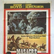 Cine: MASACRE EN CONDOR PASS - POSTER CARTEL ORIGINAL - STEPHEN BOYD PAUL BREITNER POTATO FRITZ. Lote 137600174