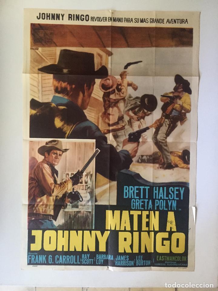 CARTEL ORIGINAL ARGENTINO MATAD A JOHNNY RINGO BRETT HALSEY SPAGHETTI EUROWESTERN (Cine - Posters y Carteles - Westerns)