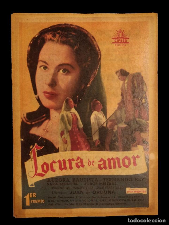 CARTEL DE CINE ANTIGUO LOCURA DE AMOR, AURORA BAUTISTA Y FERNANDO REY, (Cine - Posters y Carteles - Clasico Español)