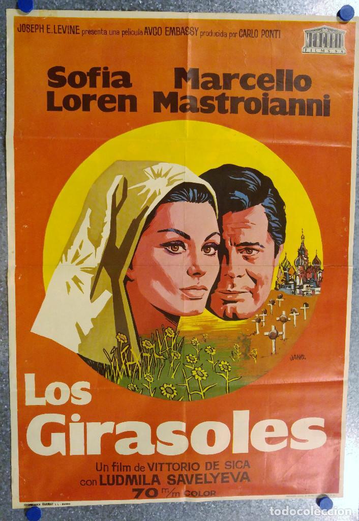 LOS GIRASOLES. SOFIA LOREN, MARCELLO MASTROIANNI. AÑO 1971 (Cine- Posters y Carteles - Drama)