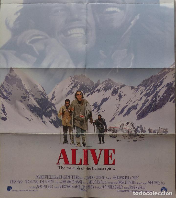 ALIVE MOVIE POSTER 1993, ORIGINAL, DOBLADO, ETHAN HAWKE, PARAMOUNT PICTURES (Cine - Posters y Carteles - Acción)