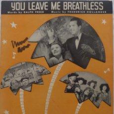 Cine: COCOANUT GROVE PARTITURA 1938 FRED MACMURRAY & HARRIET HILLIARD, SAYS MY HEART!. Lote 139060626