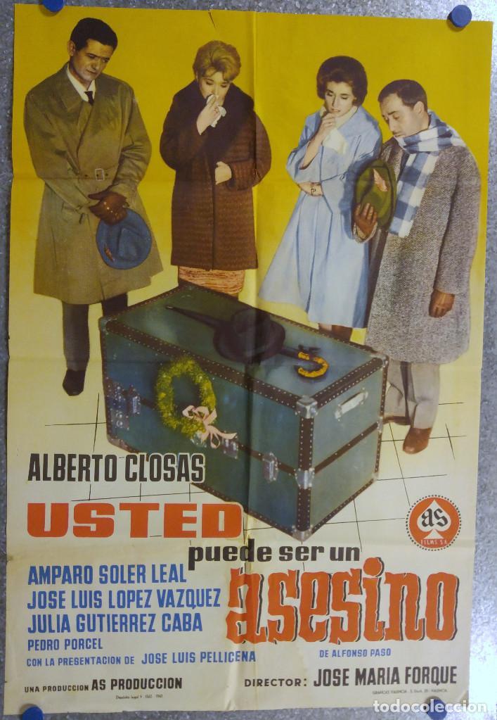 USTED PUEDE SER UN ASESINO. ALBERTO CLOSAS, J.L. LOPEZ VAZQUEZ, JULIA GUTIERREZ CABA. AÑO 1961 (Cine - Posters y Carteles - Clasico Español)