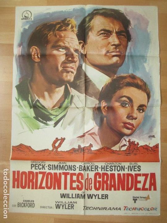 CARTEL CINE, HORIZONTES DE GRANDEZA, GREGORY PECK, CHARLTON HESTON, JANO, 1970, C958 (Cine - Posters y Carteles - Westerns)
