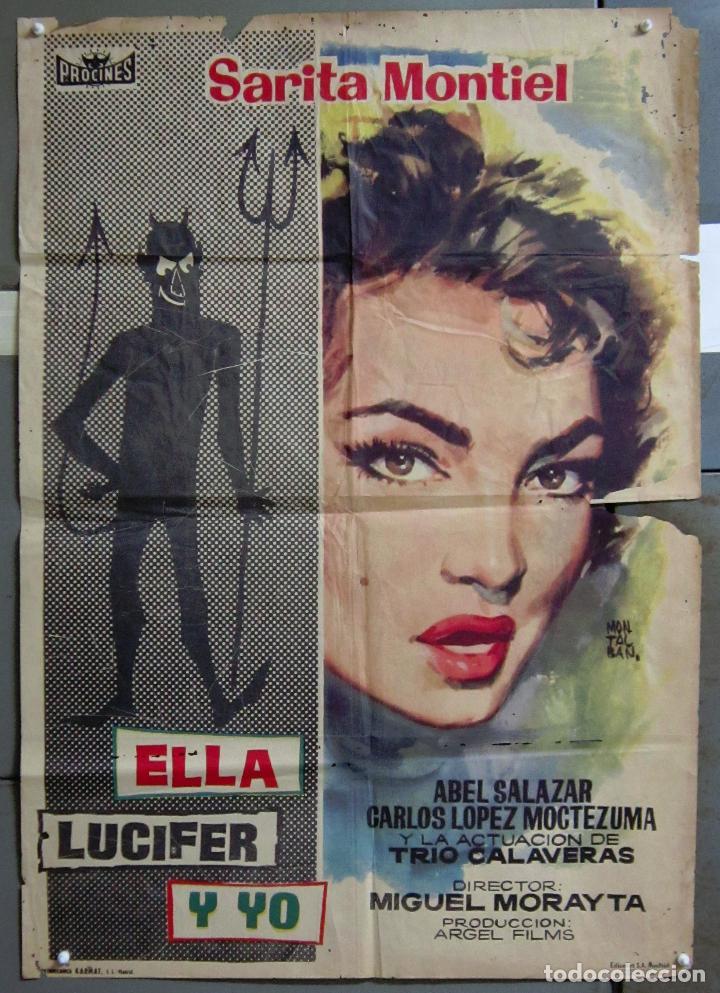 ZA52 ELLA LUCIFER Y YO SARA MONTIEL MONTALBAN POSTER ORIGINAL 70X100 ESTRENO CDO (Cine - Posters y Carteles - Clasico Español)