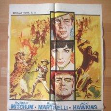 Cine: CARTEL CINE, SAFARI EN MALASIA, ROBERT MITCHUM, ELSA MARTINELLI, 1964, C1467. Lote 139303406